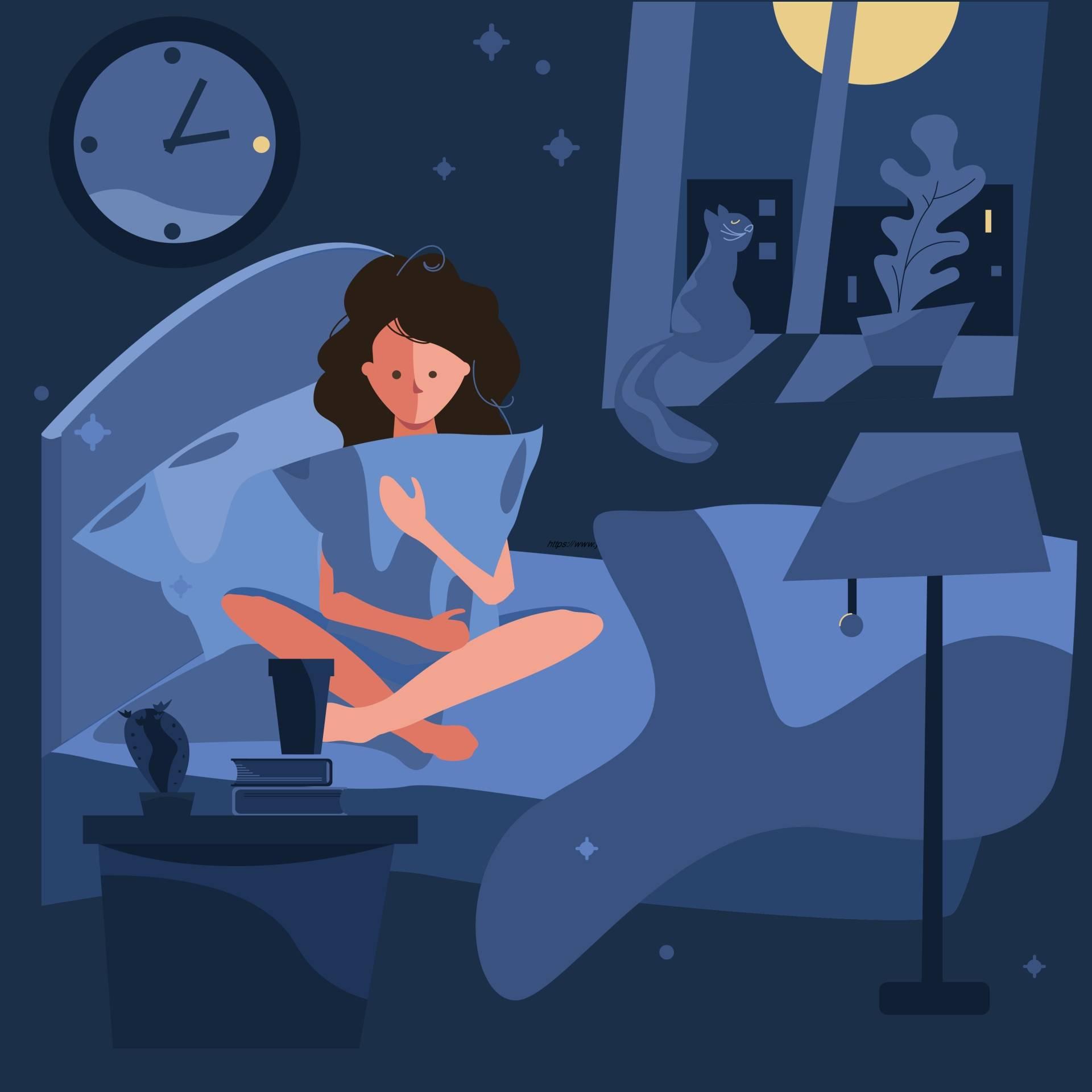 Bezsenność - jak ją leczyć? Jak zwalczyć problemy ze snem? Grafika przedstawia młodą kobietę cierpiącą na brak snu, która przytula poduszkę siedząc na łóżku. W tle siedzi kot na oknie.