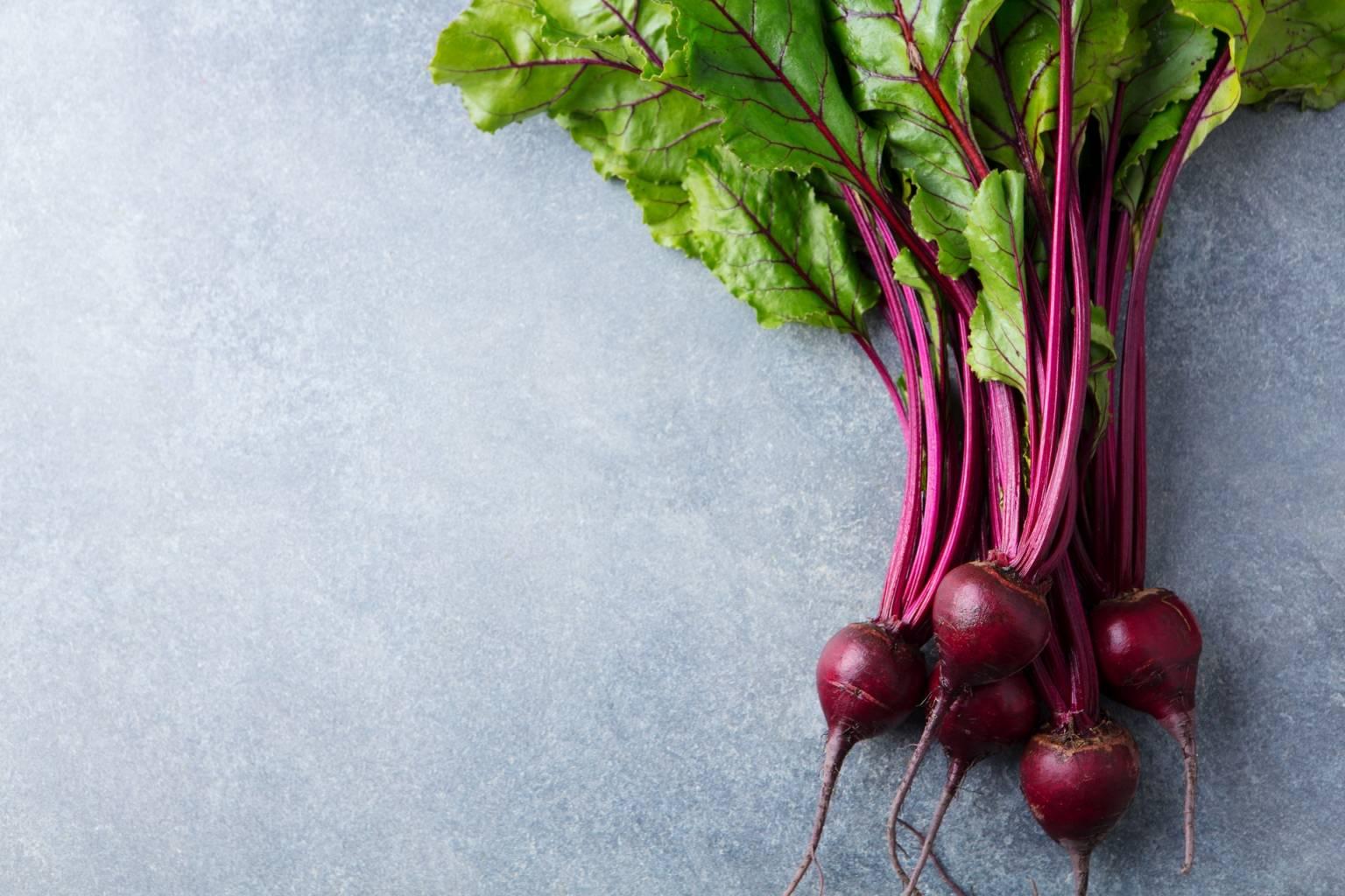 Warzywa wzmacniają odporność. Młoda botwinka z liśćmi leży na szarym blacie.
