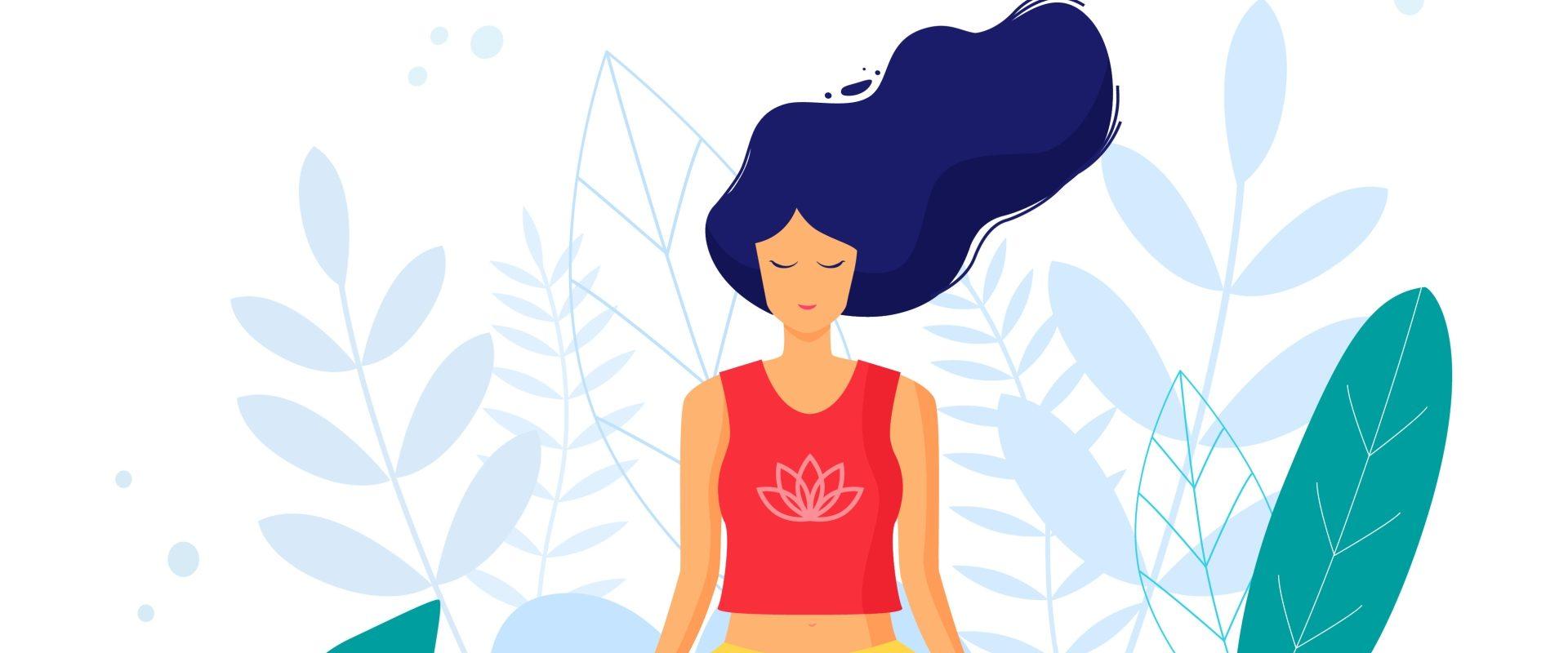 Techniki oddechowe - jak oddychać, aby rozładować stres i napięcie opowiada Agnieszka Górecka, coach oddechem i terapeutka. Ilustracja przedstawiająca medytującą kobietę w otoczeniu zieleni - koncept medytacji i technik oddychania.