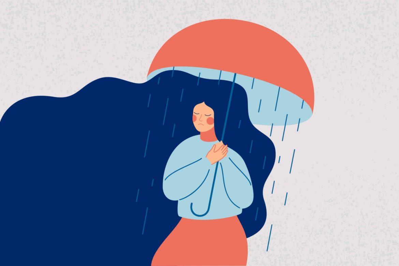 Depresja - objawy, przyczyny, leczenie. Jak leczyć depresję? Ilustracja - smutna kobieta w niebieskim swetrze i pomarańczowej spódnicy trzyma w ręku pomarańczowy parasol, spod której pada na nią deszcz.