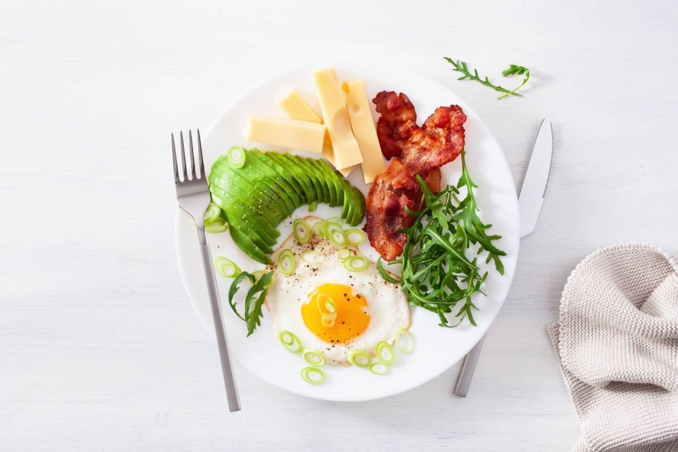 Co jeść na diecie ketogenicznej? Zdrowe śniadanie na diecie keto - jajka sadzone, bekon, awokado, ser żółty i rukola na białym talerzu.