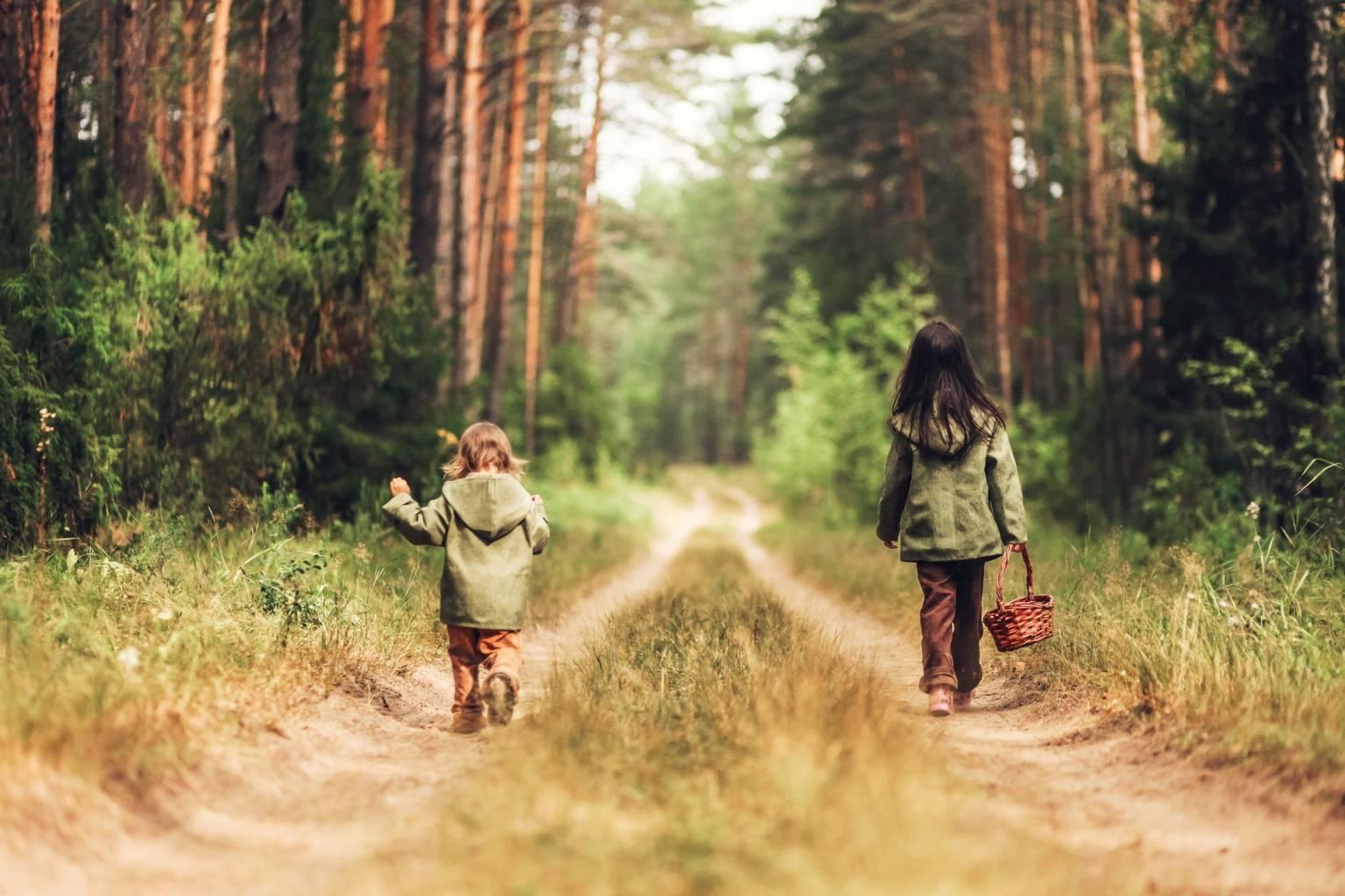 Jak ochronić dziecko przed boreliozą? Dwie małe dziewczynki w zielonych kurtkach idą ścieżką przez las z koszykiem.