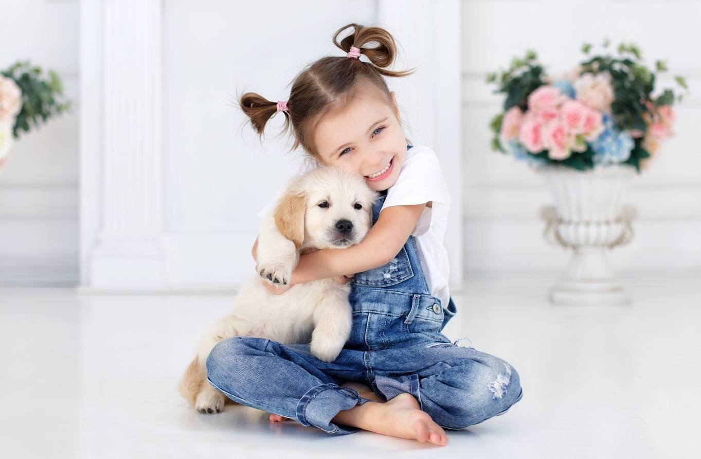Alergia na sierść zwierząt - jak ją leczyć?Mała dziewczynka w dżinsowych ogrodniczkach przytula szczeniaka rasy golden retriver.