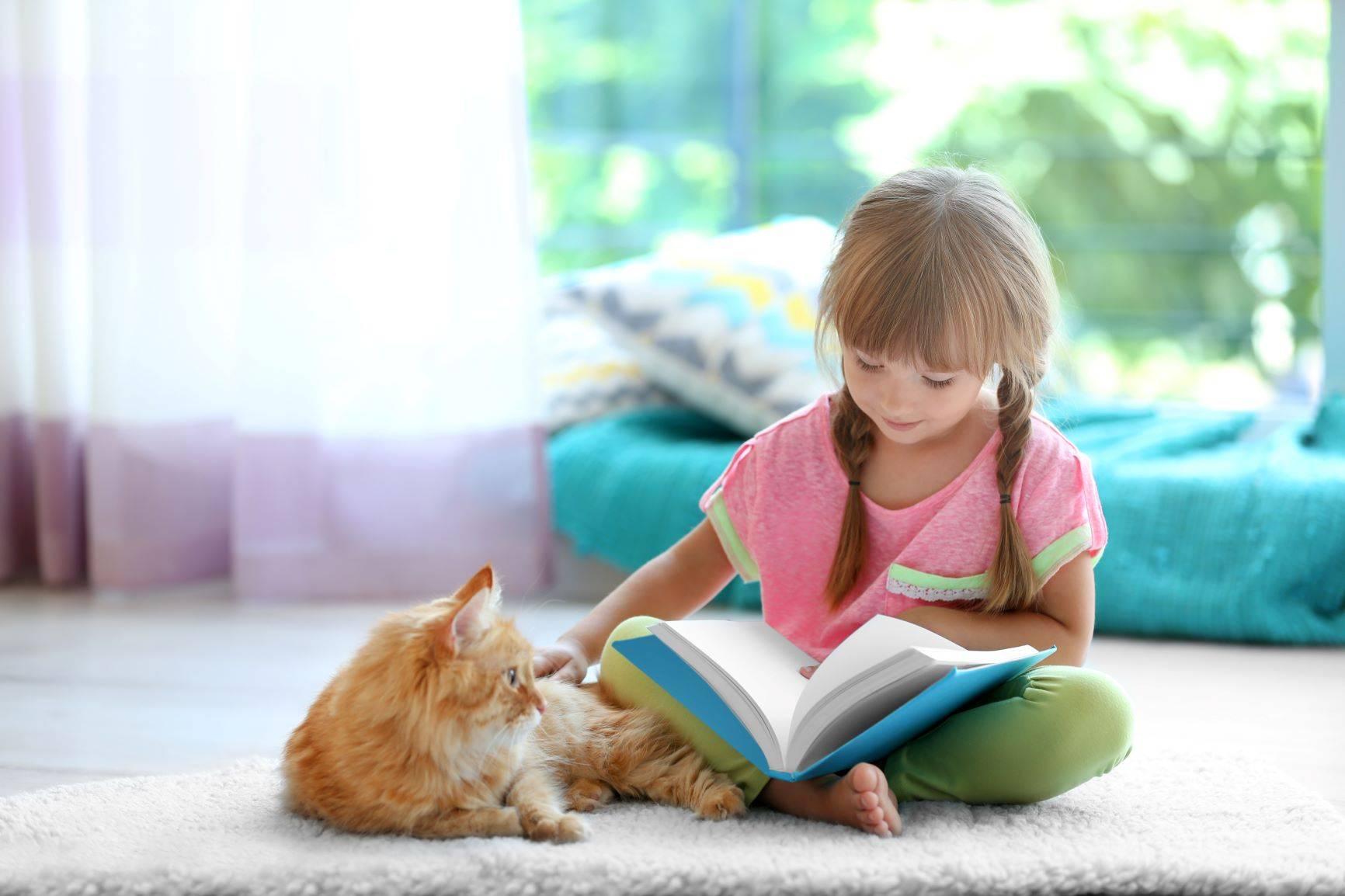 Kot pomaga dzieciom z autyzmem i podnosi odporność u dzieci. Dziewczynka głaszcze rudego kota.