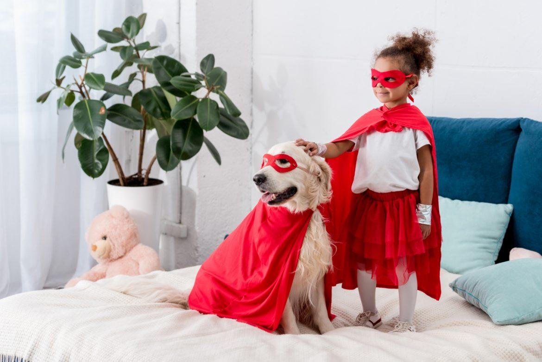 Dzieci i zwierzęta - przyjaźń, która procentuje.Jak pomóc dziecku zbudować dobrą relację ze zwierzakiem domowym? Mała dziewczynka i pies golden retriver ubrani w czerwone peleryny superbohaterów stoją na łóżku w sypialni rodziców.