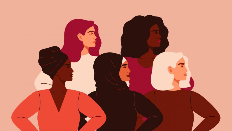 Historia miesiączki - dlaczego to temat tabu? 5 kobiet o różnym pochodzeniu etnicznym stoi razem i patrzy w bok - ilustracja.