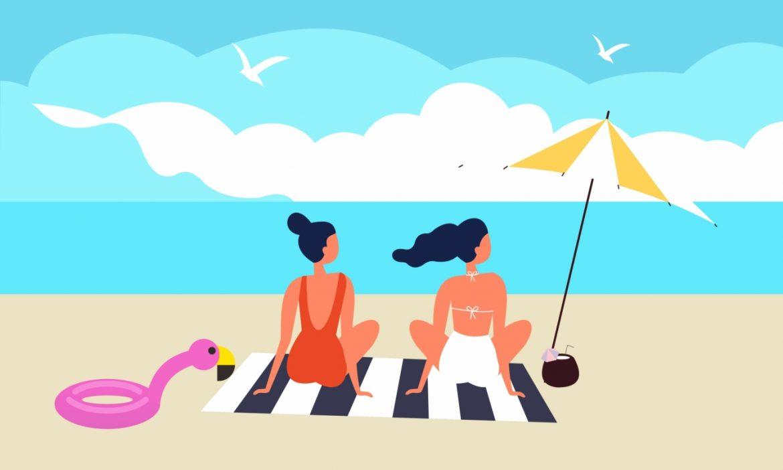 Zalety słońca i promieni słonecznych - 12 korzyści z opalania. Dwie kobiety opalają się na plaży na kocu - ilustracja.