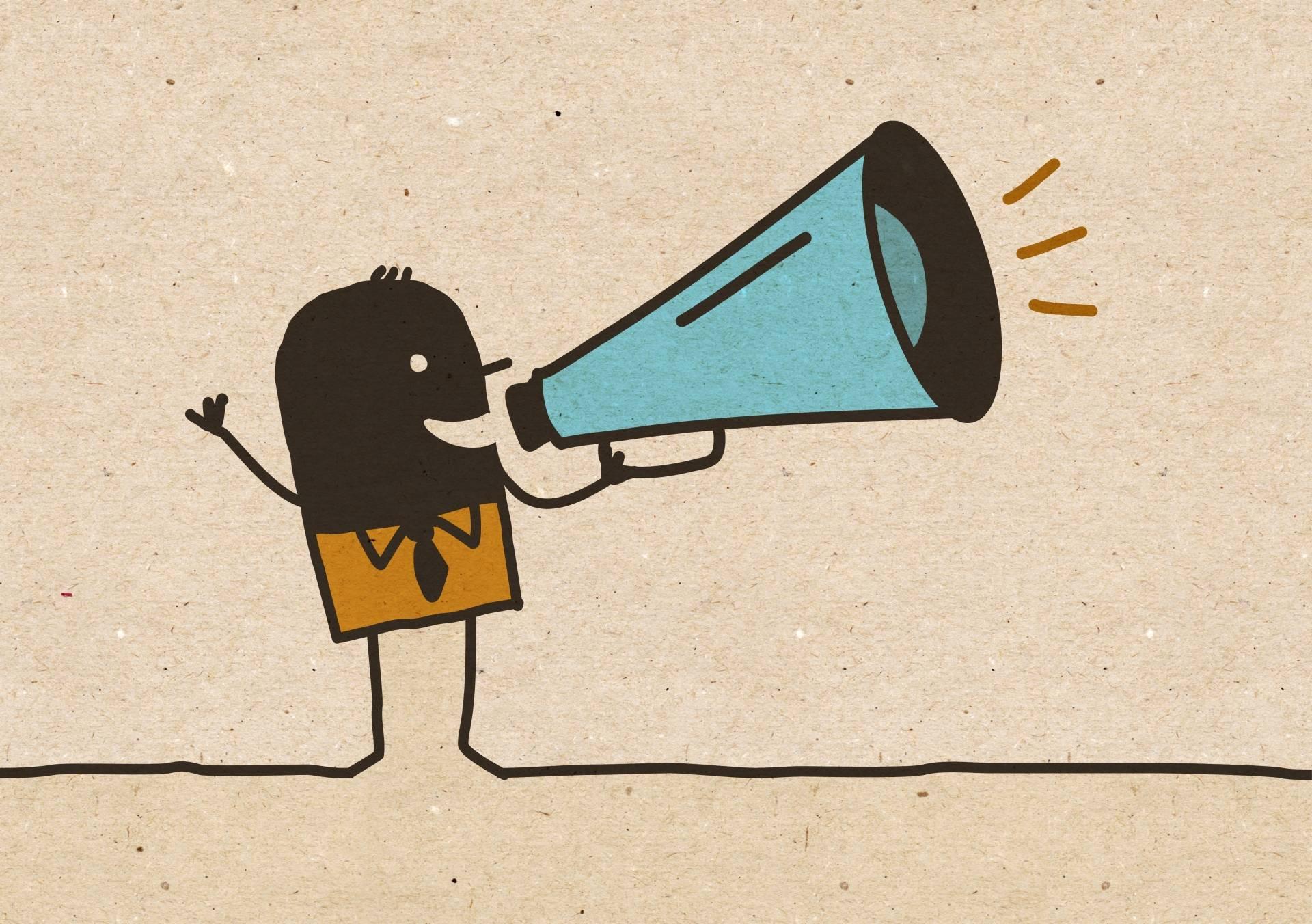 Trening głosu - kreskówkowy ludzik krzyczy przez megafon.