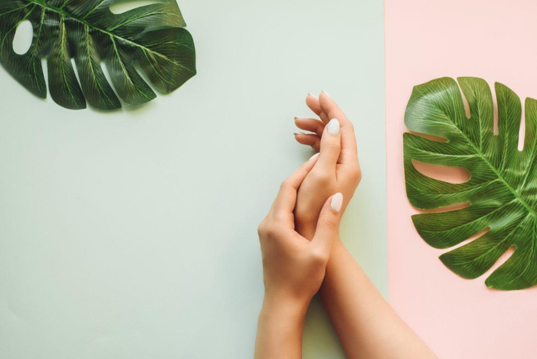 Jak wzmocnić paznokcie? Jak je olejować i piłować prawidłowo? Jak pielęgnować paznokcie po hybrydzie? Kobiece dłonie na pastelowym tle w otoczeniu liści monstery.