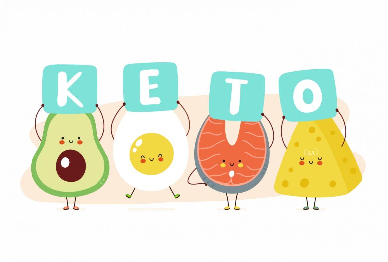 Dieta keto - na czym polega dieta ketogeniczna? Rysunkowe awokado, jajko na twardo, dzwonek ryby i ser żółty trzymają tabliczki z literami składającymi się na napis KETO.