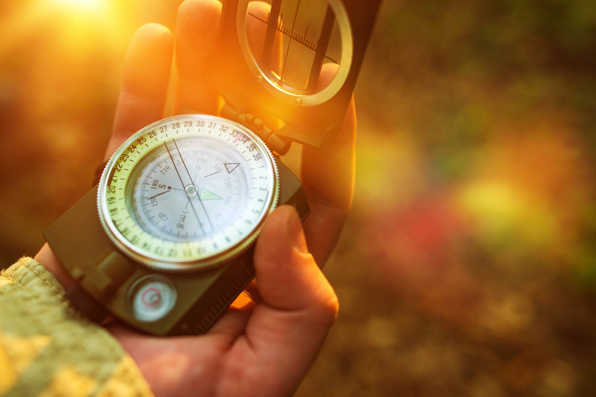 Jak nie zgubić się w lesie. Tłumaczy Adam Wajrak. Kobiece dłonie trzymają kompas w lesie.