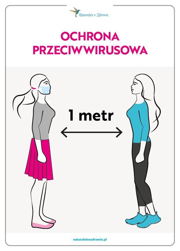 Koronawirus - zachowaj odległość 1 metra od drugiej osoby.