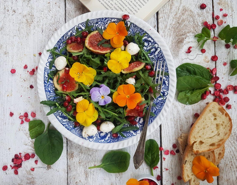 Kwiaty jadalne - jak je wykorzystać w kuchni? Przepisy Agnieszki Żelazko. Sałatka z bratkami, figą i granatem.