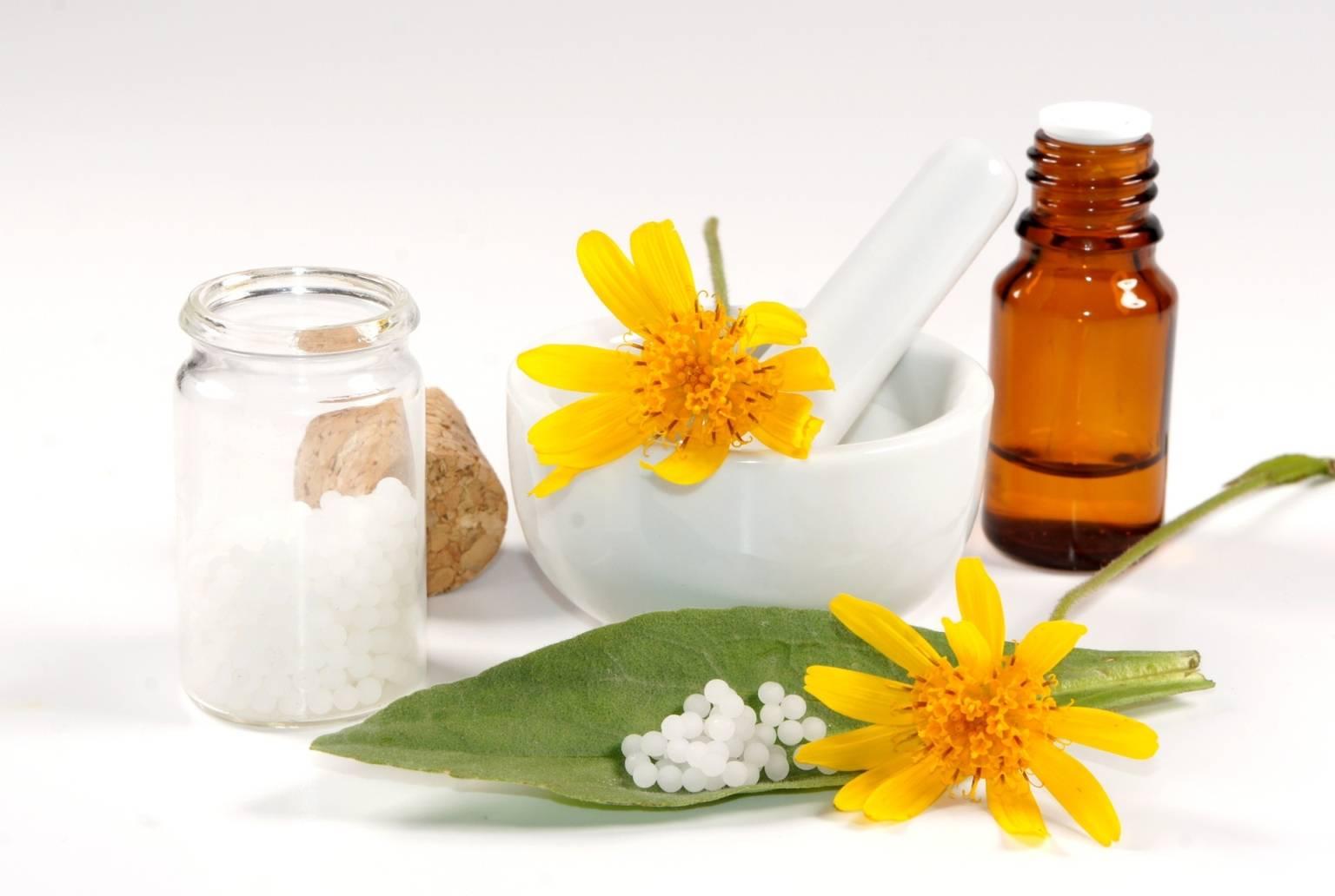 Arnica montana - lek homeopatyczny w granulkach. Moździerz z arniką górską i fiolkami leków na białym tle.