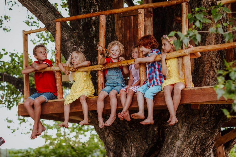 Leśne przedszkole - czym jest, jakie są jego zalety, dlaczego warto posłać do niego dzieci? Przedszkolaki starszaki siedzą w domku na drzewie w lesie.