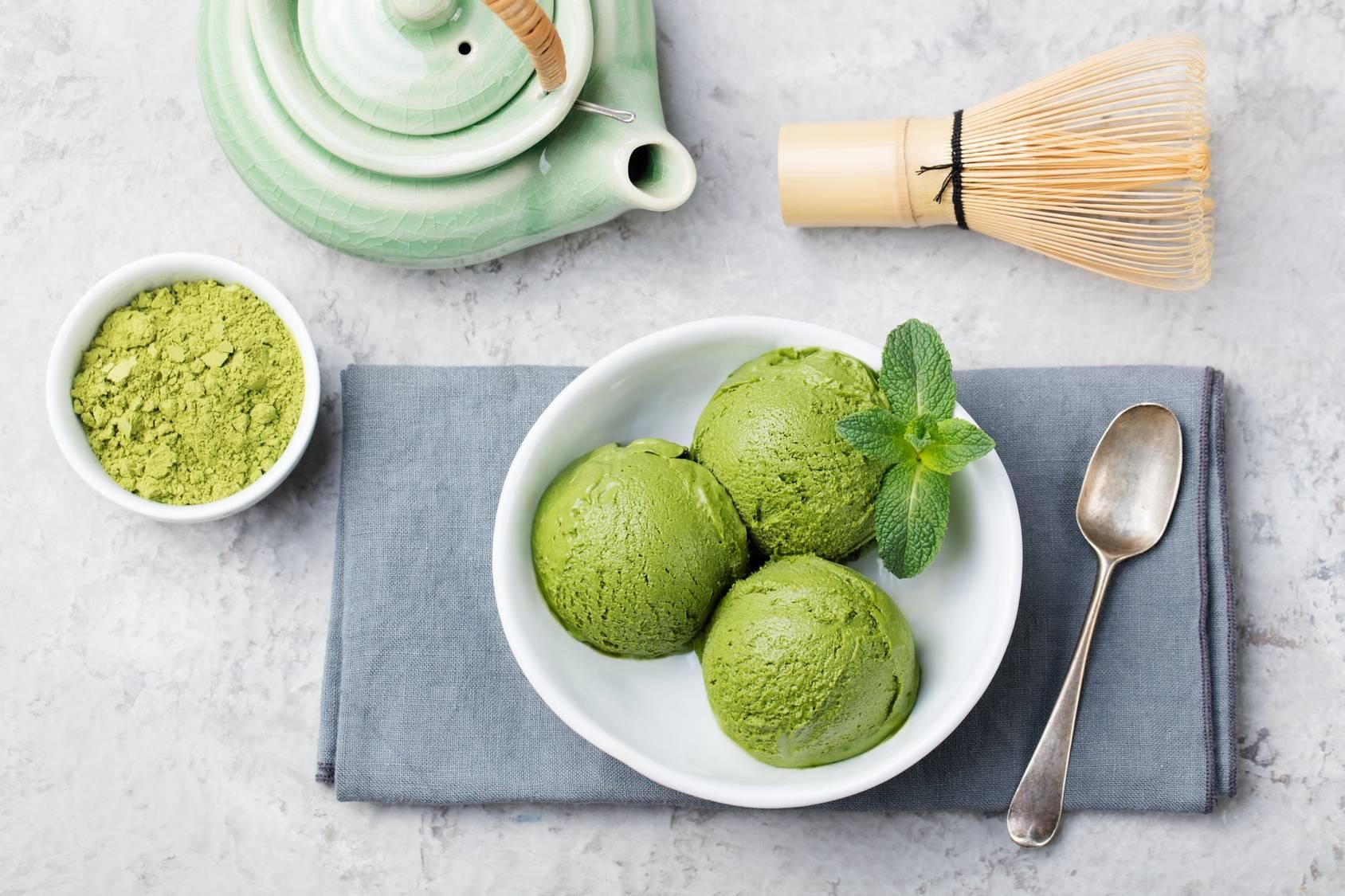 Dietetyczne lody z zieloną herbatą matcha