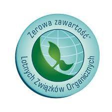 Zerowa zawartość Lotnych Związków Organicznych - logo na farbach