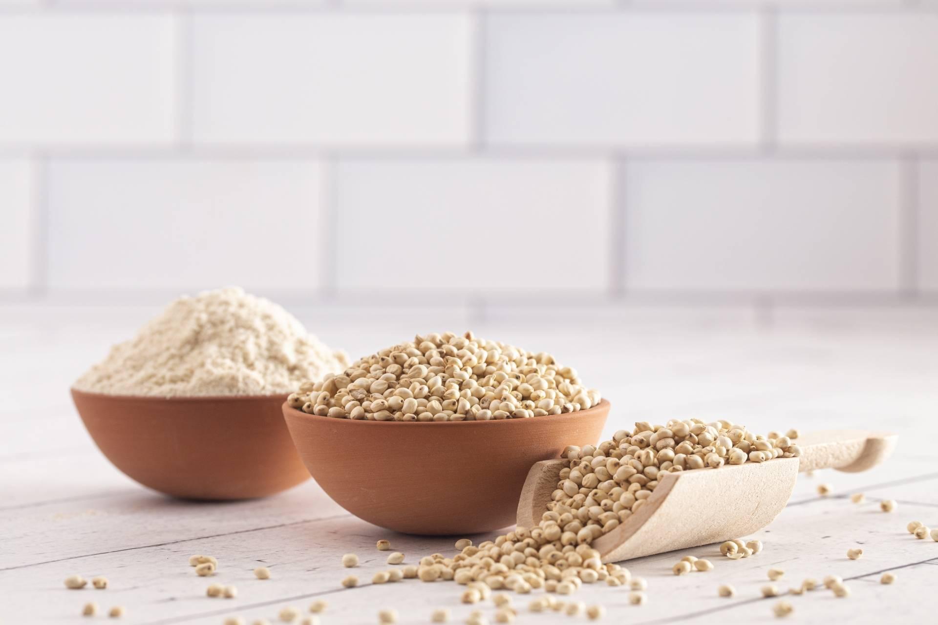 Mąki bez glutenu, mąki bezglutenowe. Mąka z sorgo i ziarna w miseczkach na kuchennym blacie.