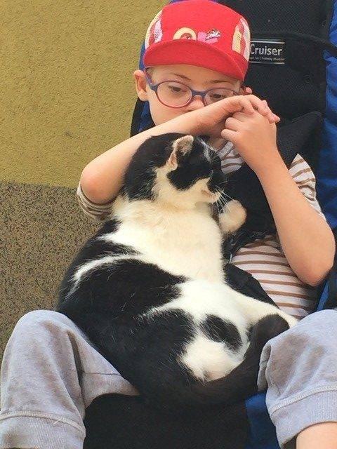 Max Gudaniec przytula kota.