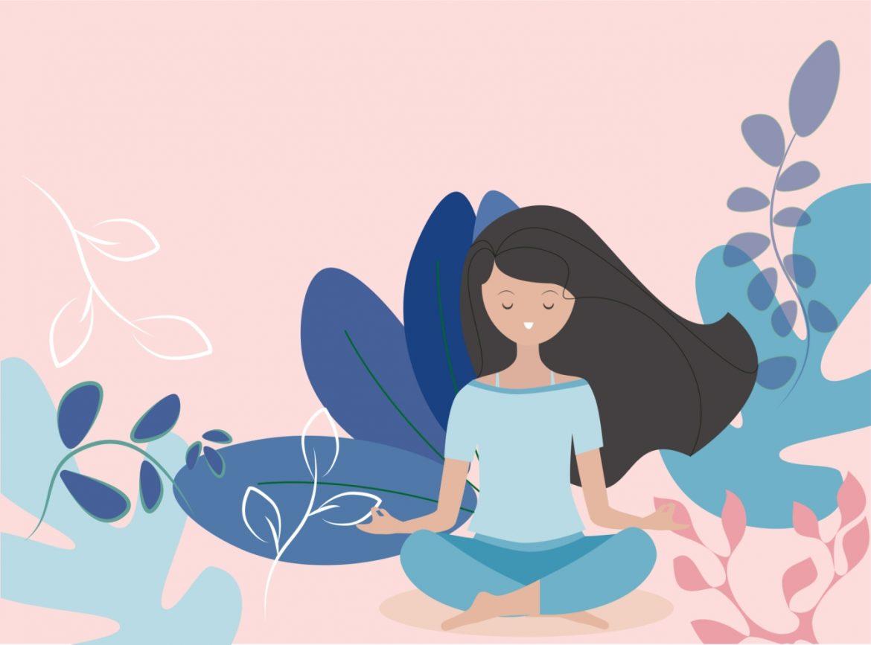 Zuzanna Ziomecka opowiada o praktyce mindfulness. Kolorowa ilustracja przedstawiająca medytującą dziewczynę w otoczeniu roślinności.