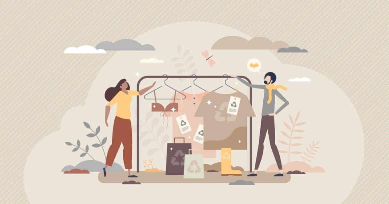 Ekologia w branży fashion: moda cyrkularna, slow fashion, pre-loved, sharing i recycling ubrań - ilustracja przedstawiająca koncept slow fashion.