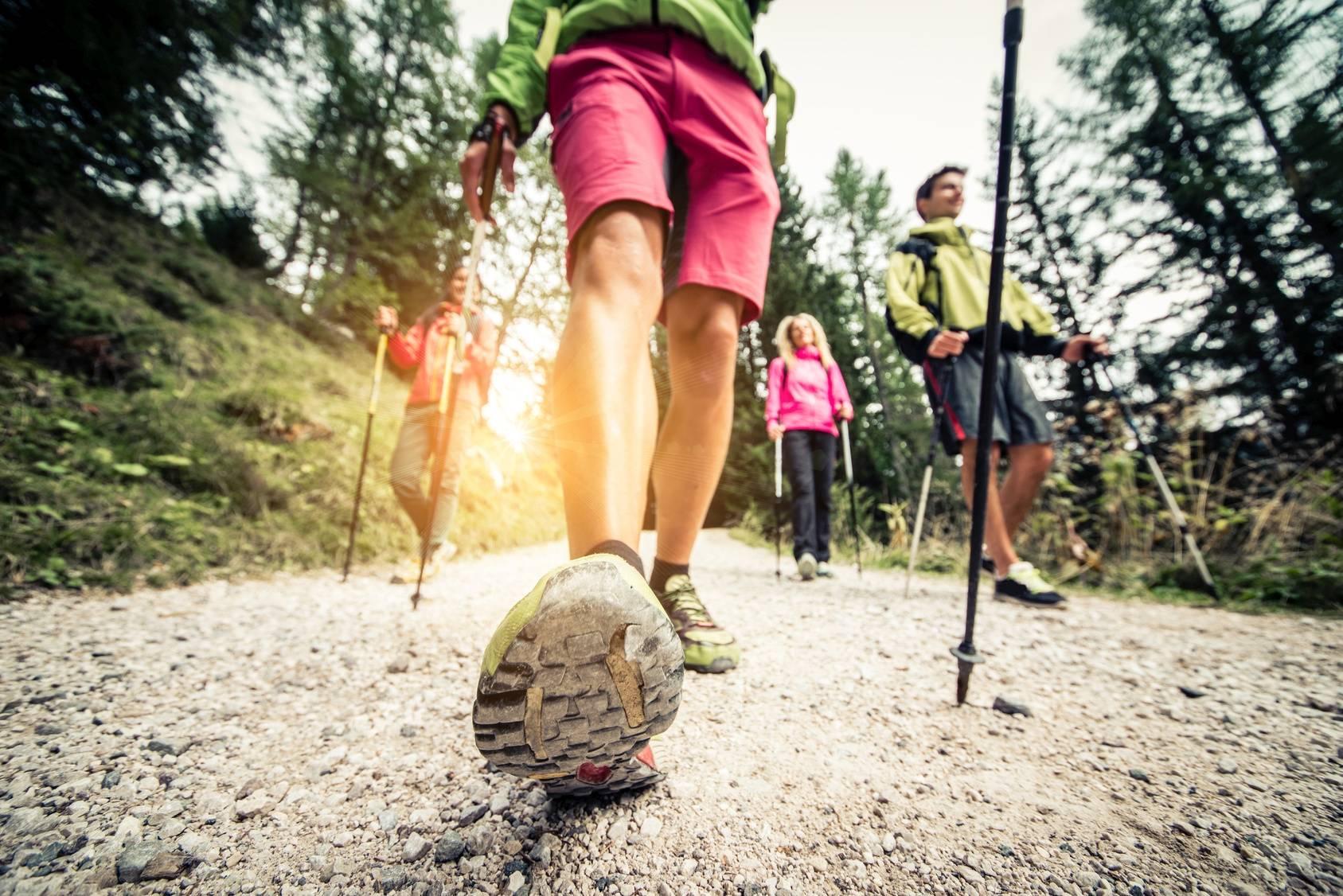 Nordic walking dla początkujących - jak go uprawiać poprawnie? Grupa osób uprawia nordoc walking w lesie - zbliżenie na but.