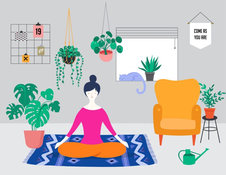 Ćwiczenia oddechowe - jakie najlepsze techniki relaksacyjne warto wykonywać? Ilustracja przedstawiająca medytującą dziewczynę w salonie.