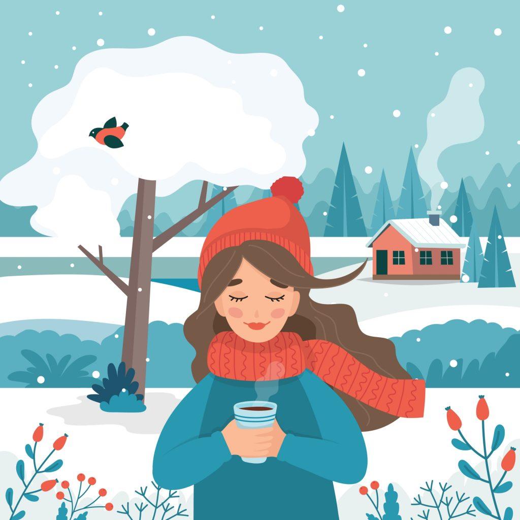 Dobre wei qi w zimie – jak wzmocnić odporność według medycyny chińskiej? Ilustracja przedstawiająca dziewczynę w czerwonej czapce i szaliku z kubkiem gorącej herbaty w ręku w otoczeniu zimowego krajobrazu.