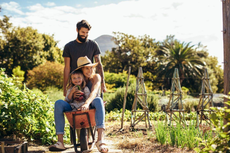Rośliny niebezpieczne dla dzieci - jak chronić dzieci przed trującymi roślinami domowymi i ogrodowymi? Tata wiezie na taczce po ogrodzie mamę i córeczkę.