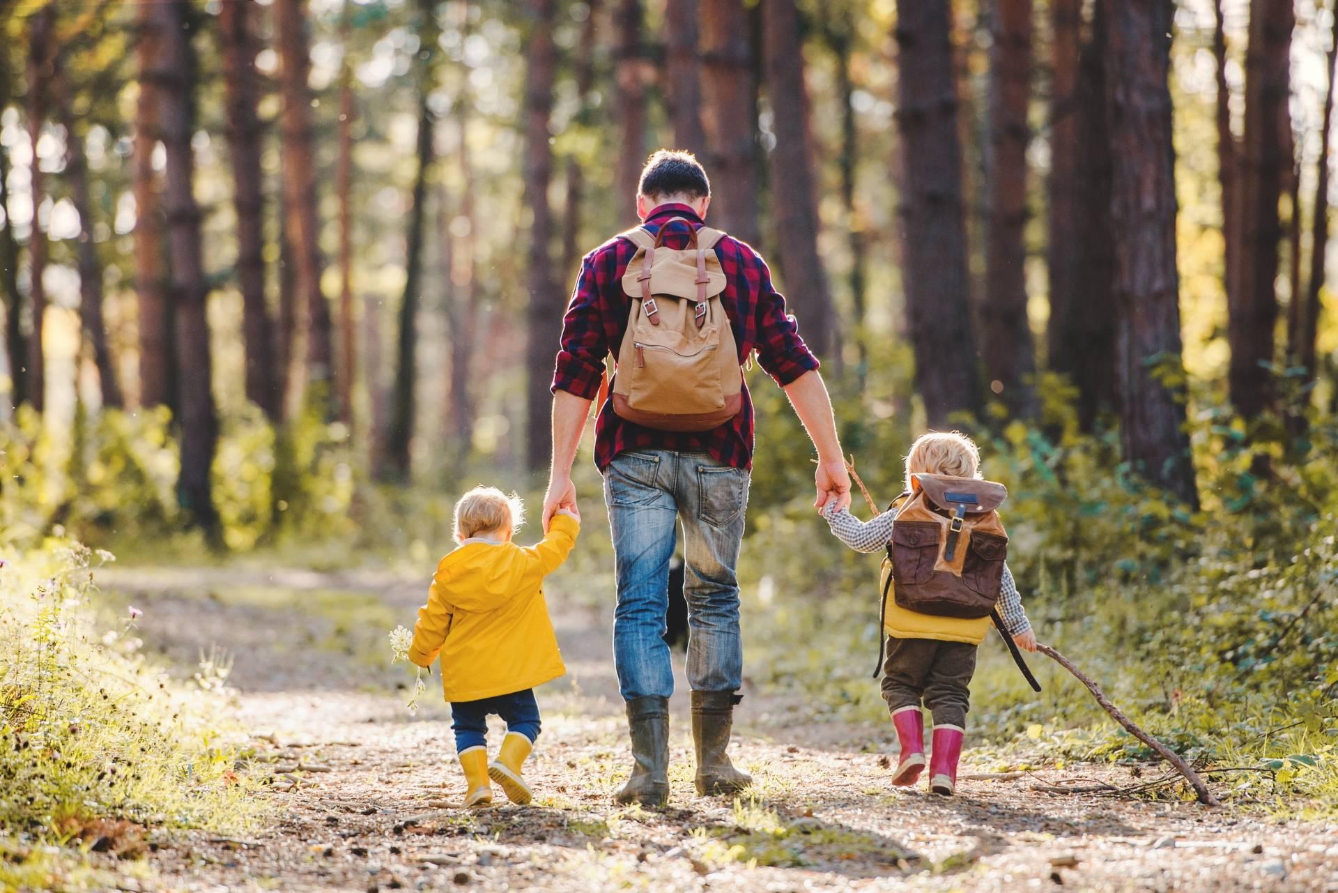 Tata prowadzi dwójkę swoich dzieci za rękę po lesie. Czym jest kąpiel leśna shinrin-yoku?