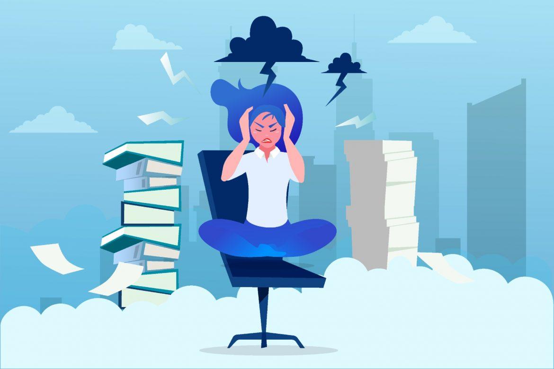 Stres - jakie są jego przyczyny, objawy i skutki? Jak radzić sobie ze stresem? Ilustracja przedstawiająca kobietę siedzącą na biurowym krześle wokół wieżowców i chmur z błyskawicami.