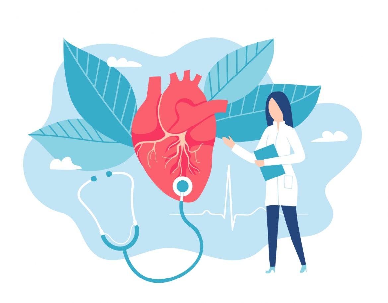 Zawał serca - jak przebiega u kobiet, a jak u mężczyzn? Pierwsza pomoc przy zawale. Grafika przedstawiająca lekarkę kardiologa osłuchującą duże serce na roślinnym niebieskim tle.