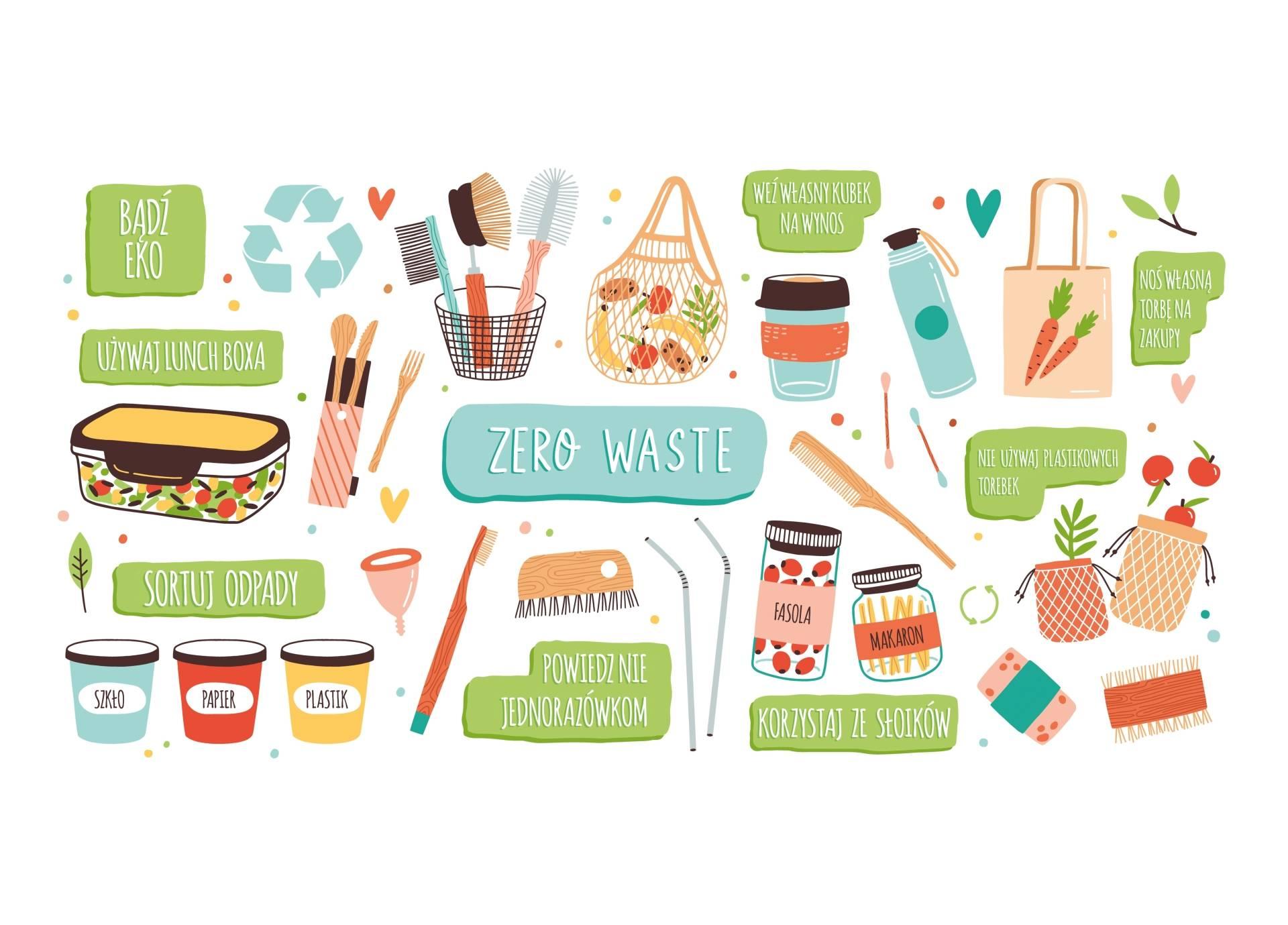 Infografika przedstawiająca główne zasady życia w duchu zero waste. Jak dbać o środowisko na własną rękę?